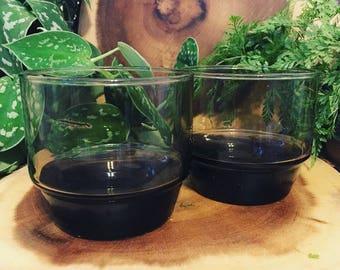 Pair of Vintage Smokey Glass Tumblers