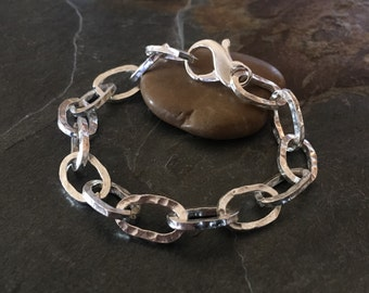 Chunky silver bracelet, sterling silver, handmade