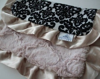 Black and White Damask with Rosewater Pink and Champagne Gold Satin Trim - LOVIE Blanket - Lovey, Baby Blanket, Woobie
