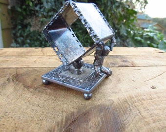 Antique Meriden B. Company Silver Plated Figural Napkin Holder - Whimsical Boy Figural Silver Napkin Holder - Victorian Figural Napkin Ring