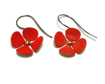Bronze Earrings, Flower ,Colored flower, Floral jewelry, Nature inspired,Spring jewelry,Gift for her,Colored flower