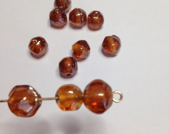 8 Vintage Czech Amber Glass Beads -Hand made vintage glass beads, jewelry supplies, glass beads, vintage beads
