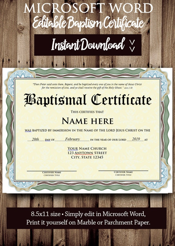 Baptism certificate template microsoft word editable file baptism certificate template microsoft word editable file printable certificate template instant download yadclub Choice Image