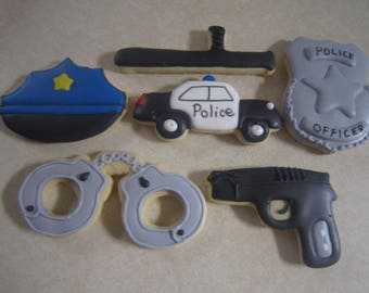 1 Dozen Police Hand Decorated Cookies