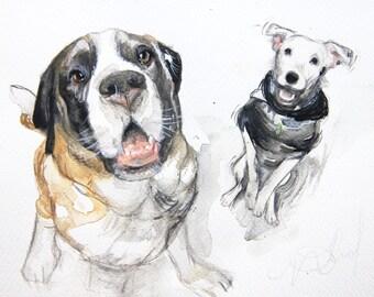 Custom TWO pets painting, Custom 2 pet portrait, watercolor, DOGS, cat, portraits, custom dog portrait,  pet portrait,