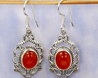 Desire Carnelian Earrings & Sterling Silver Earrings AE933 The Silver Plaza