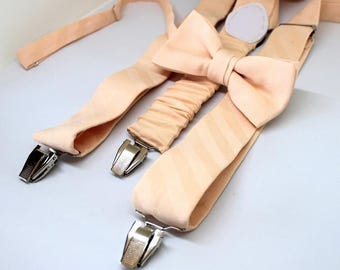 Suspenders with bow, salmon, pastel