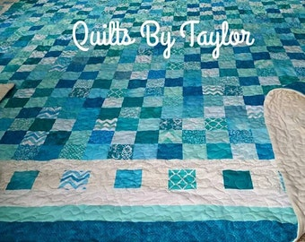 Teal Quilt, Made to Order, Handmade Teal Quilt, King Quilt, Queen Quilt, Rainbow Quilt, Quality Item