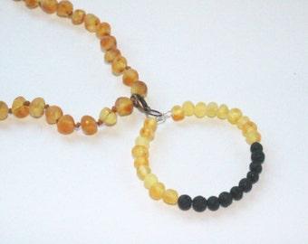 Raw Unpolished Baltic Amber Pendant w/Lava Stone Diffuser - Lemonade