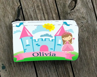 "Personalized Coin Purse, Princess Castle , black zipper top 3""x5"", great for birthday gift, easter basket stuffer, tooth fairy purse"