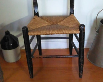 Vintage Hand Painted Ladder Back Cane Bottom Chair - PICK UP ONLY
