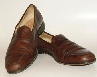 Men's Penny Loafers / Martin Dingman Made Italy / Brown / Vintage / Luxury / Size 11