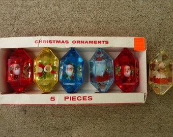 Vintage JewelBrite Diorama Christmas Ornaments 1960's Tree Decor Lot (#581)