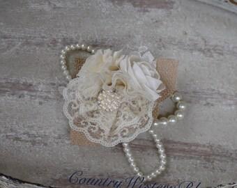 Wedding Corsage Rustic Mother of the Bride Corsage Mother of the Groom Corsage Bling Corsage Ivory Sola Brooch Corsage Rhinestone Burlap