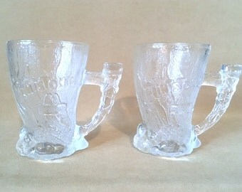 "Vintage Flintstones Mammoth Glass Collector's Mugs 1993, Set/2 Flintstones ""Roc Donalds"" Collectible Frosted Glass Mugs, Movie Memorabilia."