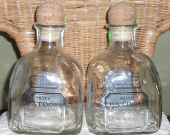 Set of 2 Silver PATRON TEQUILA 1.75L (magnum) empty recycled liquor bottles for crafts