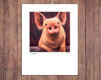 Pig Print from Original Painting, Farm Art Decor, Matted to fit 11x14 Frame