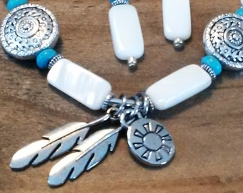 Feather Charm Bracelet Earring Set Turquoise Native American Silver Tone, Beaded, Jewelry, Bridesmaid Gifts, Mothers Day