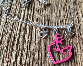 Pink buck and doe kissing heart necklace and earrings set: pink Browning deer heart necklace with heart earrings set Deer Valentines