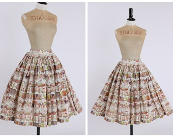 Vintage original 1950s 50s novelty Egyptian print cotton skirt UK 6 US 2 XS