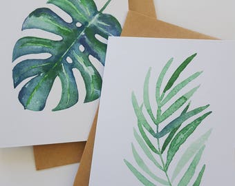 Watercolour Tropical Leaf Note Cards - Set of 4 / Botanical Note Cards / Monstera Note Cards