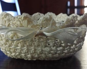 Crochet Stiff Decorative Bowl Yellow with Ribbon Super Cute!