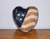 Red White Blue Spongeware Heart Shaped Ceramic Dish, Farmhouse American Flag Spatterware Bowl, Patriotic Decor, Fourth of July, Memorial Day