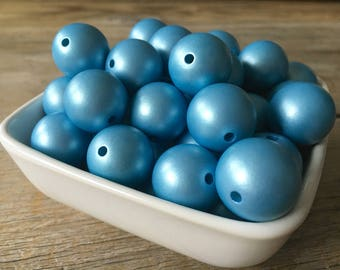 20mm Matte Pearl Light Blue Chunky Bead, Spring Bubblegum Bead, Acrylic Bead, DIY Chunky Necklace, 10 Count