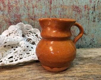 Vintage Jamestown Pottery Creamer/Orange Clay/Mini Pitcher