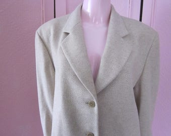 MISSONI Light Beige Tweed Jacket from the 1980s, Size 12 - 14