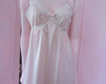 1970s Unworn Pale Pink Satin Nightgown, Size S