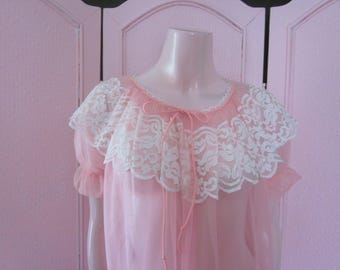 1950s Unworn Sheer Pale Pink Nylon Peignoir, Size SMALL