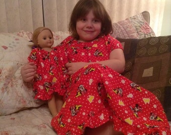 "Flannel Matching Nightgown Child & Doll Set - Fits 18"" AG Doll, 15"" Bitty Baby Doll and 14.5"" Wellie Wishers Doll"