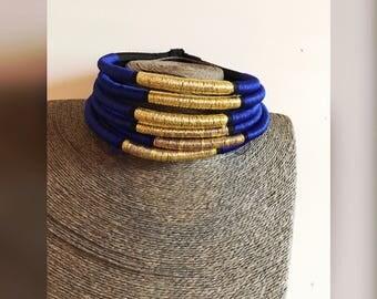Chocker 1-Royal Blue & Gold