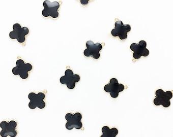 Gold Clover Quatrefoil Single Hung Charm, Black Clover Charm, Quatrefoil Charm, Gold Clover Single Hung // Combo Bracket 3 {CG096}