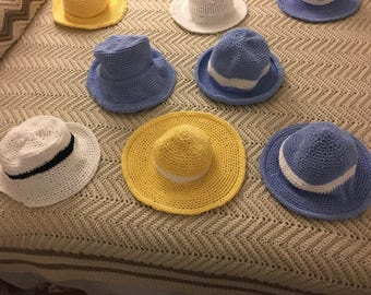 Crocheted summer hats