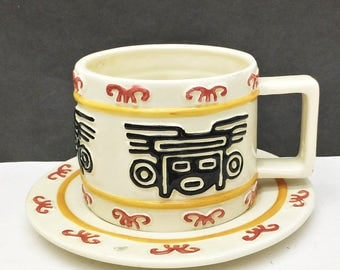 Vintage 1996 Clay Art San Francisco AZTEC Cappuccino Cup & Saucer Set Hand Painted Decorative Collectible  American Pottery