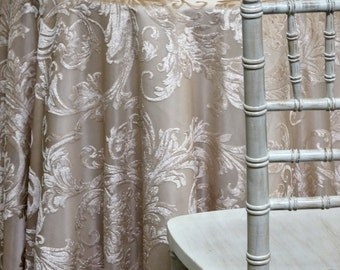 Victorian Jacquard Sheer in Champagne - Ideal for Events, Parties & Home Decor