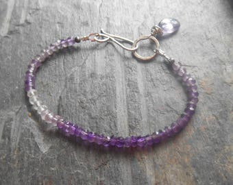 Ombre amethyst gemstone bracelet with sterling silver accents beaded bracelet ,February birthstone bracelet