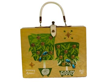 Enid Collins Vintage 1960s Wooden Jewelled Box Bag