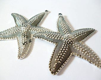 Large Silver Tone Charm Pendant_ PP542086472347/ CHARMS_ Silver Tone _starfish of 62x67 mm pack 17 pcs