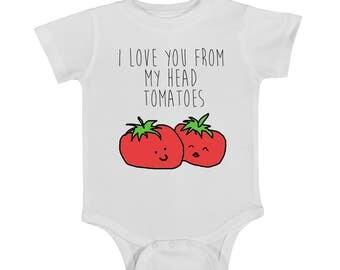 Baby onsie, funny onsie, newborn onsie, tomatoes, trendy onsie, baby clothing
