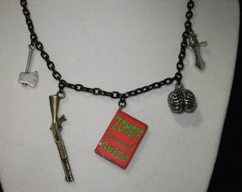Zombie Survival Guide Book Necklace - Great Gift for Book Lovers!
