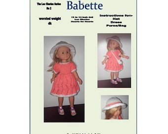 PDF dolls clothes knitting pattern for 13 to 14 inch doll, Les Cheries, Hearts for Hearts, and similar size dolls.