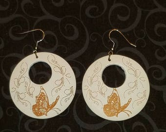 Butterfly Design Carved  Earrings- White, Black, or Pretty Purple