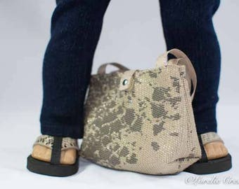 Purse Bag Satchel in Taupe Beige with Silver Sparkle Trim for American Girl or 18 Inch Doll