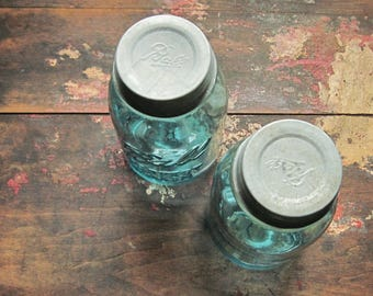 Aqua Ball Jars & Zinc Lid ~ Vintage Quart Size Perfect Mason ~Farmhouse Wedding Table Flower Vase Supply and Collection Jar  / 0167
