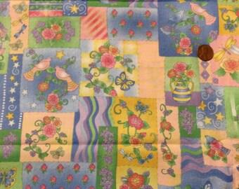 Muted Pastel Patchwork Print Fabric Flowers Birds Butterflies