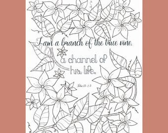 Who I am In Christ, John 15:1, Christian Coloring Page, Adult Coloring Page, Bible Verse Coloring