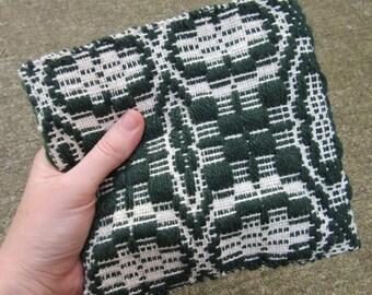 Hand Woven Zip Closure Pouch Clutch Purse Makeup Bag Overshot Weaving